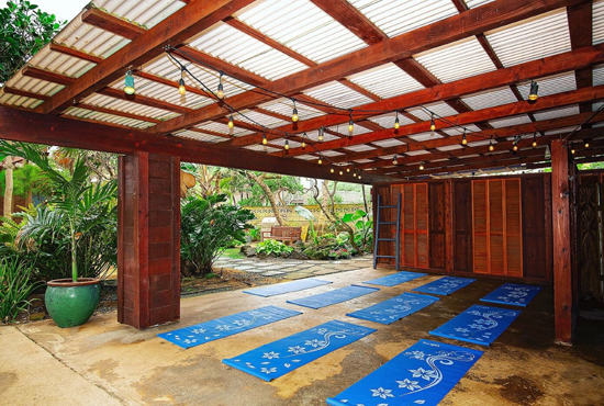Creating yoga practice space at Tiki Moon Villas
